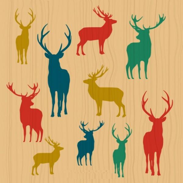 Deer Colorful Silhouette