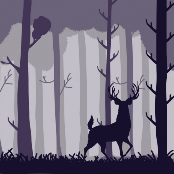 Forest trees and deer silhouettes