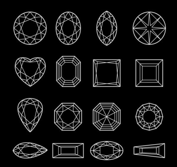 Diamond Outlined Shapes
