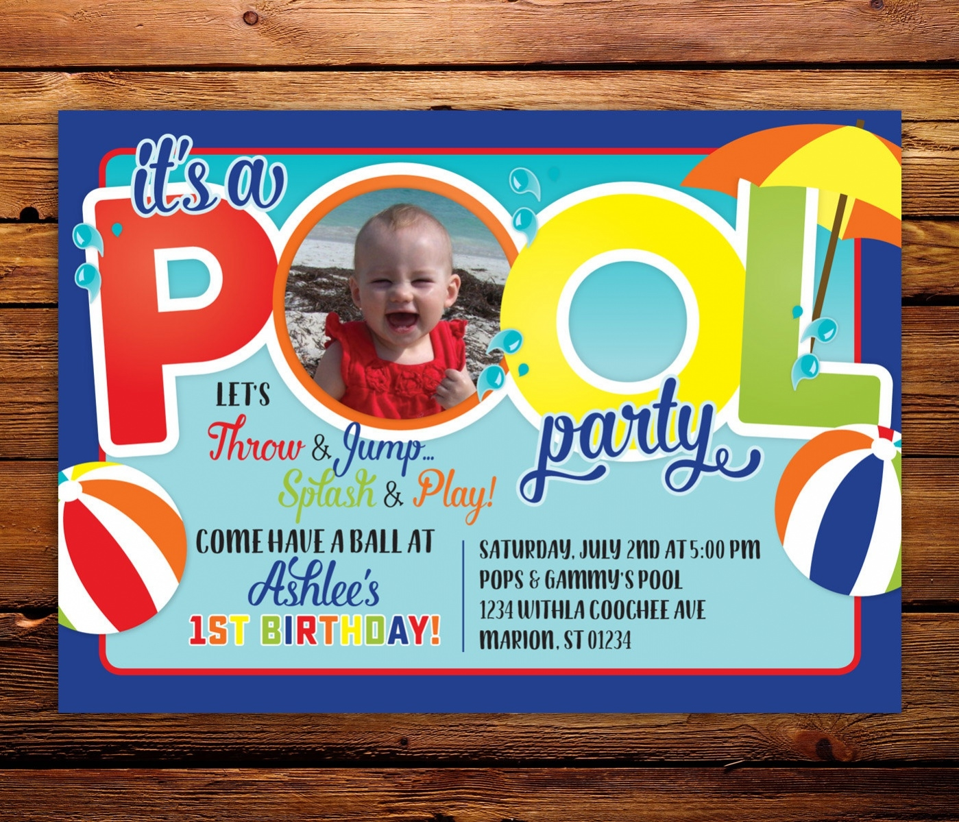 Diy Pool Party Invitation
