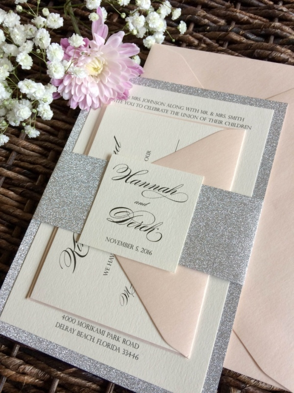 Diy Silver Glitter Wedding Invitation