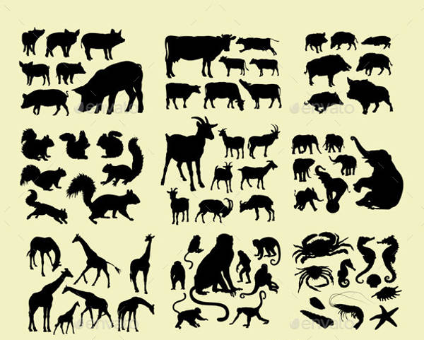Domestic Farm Animal Silhouettes