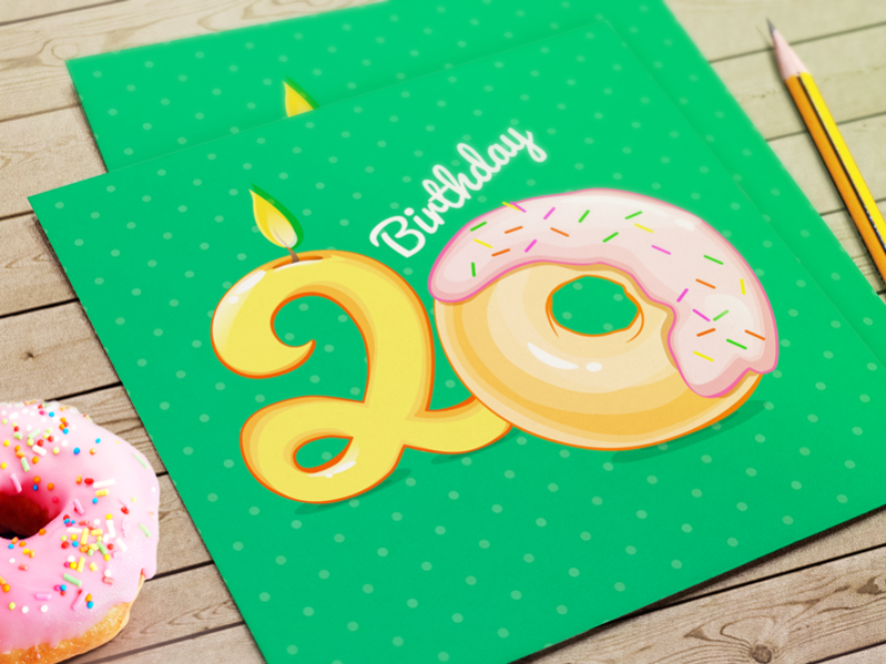 Donut Green Birthday Card Greetings