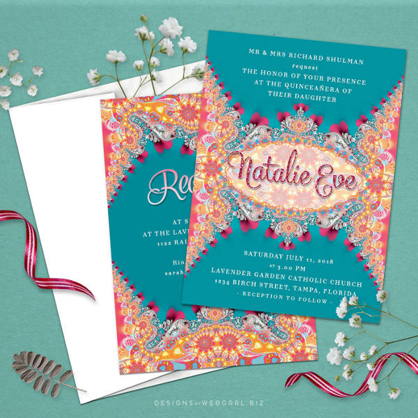Downloadable Quinceanera Invitation for Desktop