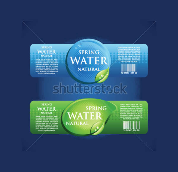Drinking Water Bottle Labels
