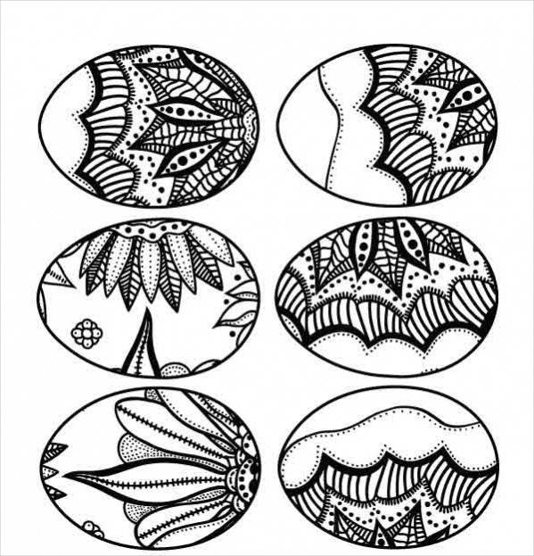 easter eggs abstract coloring page