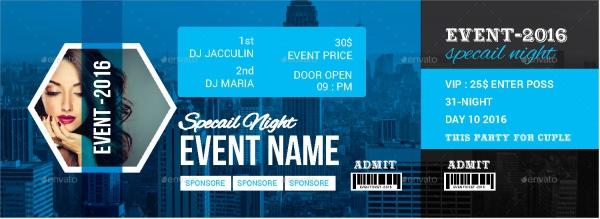 Editable Event Ticket