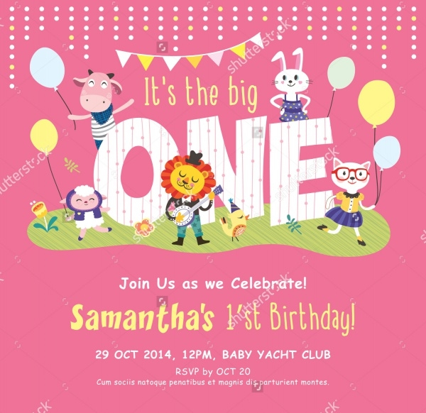 Elegant First Birthday Invitation