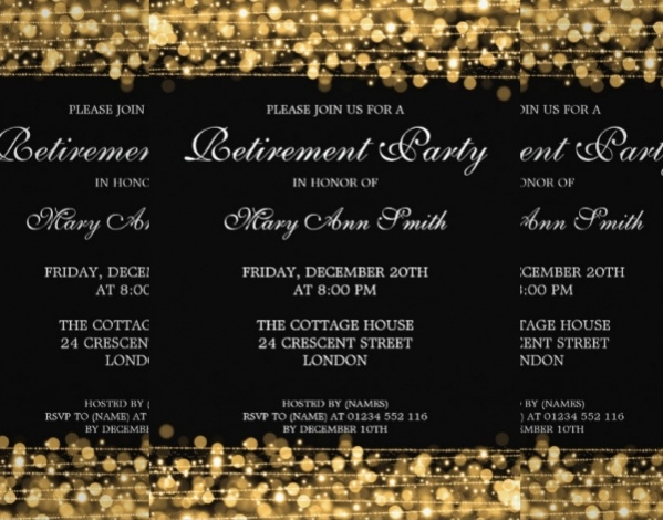 Elegant Retirement Gold Card invite