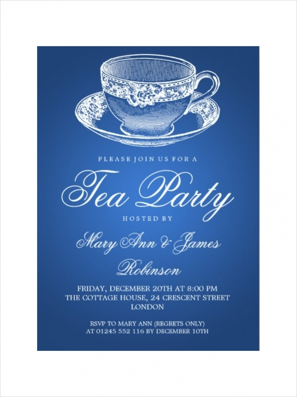 Elegant Vintage Tea Party Invitation
