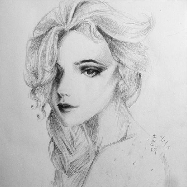 Elsa - Frozen Pencil drawing