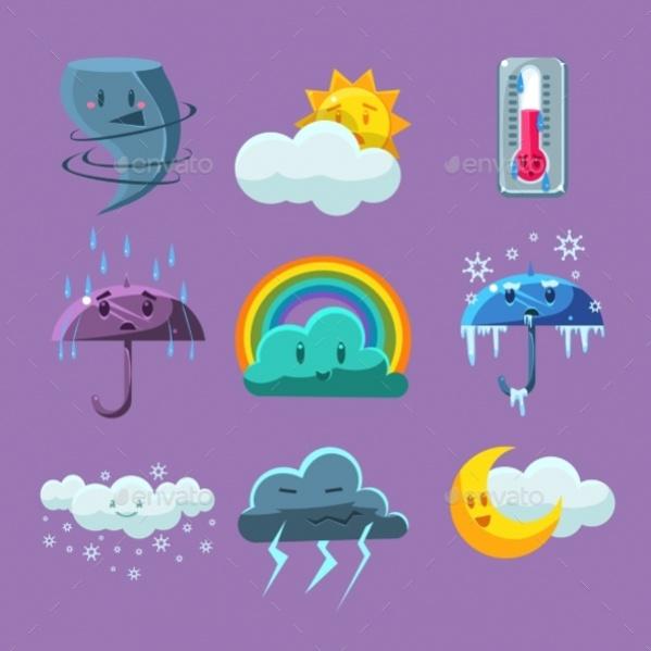 Flat Cartoon Weather Icons