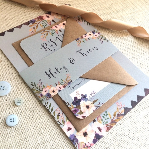 Floral Bleu Wedding Invitation