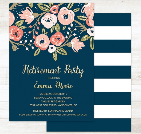 Retirement Invitations  Jpg Psd Ai Illustrator Download