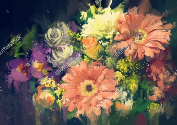 Flower Bouquet Oil Painting