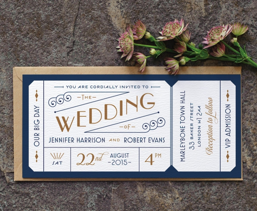 Formal Ticket Designs For Wedding