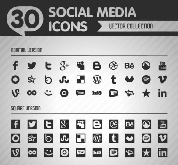 Free Black and White Social Media Icons