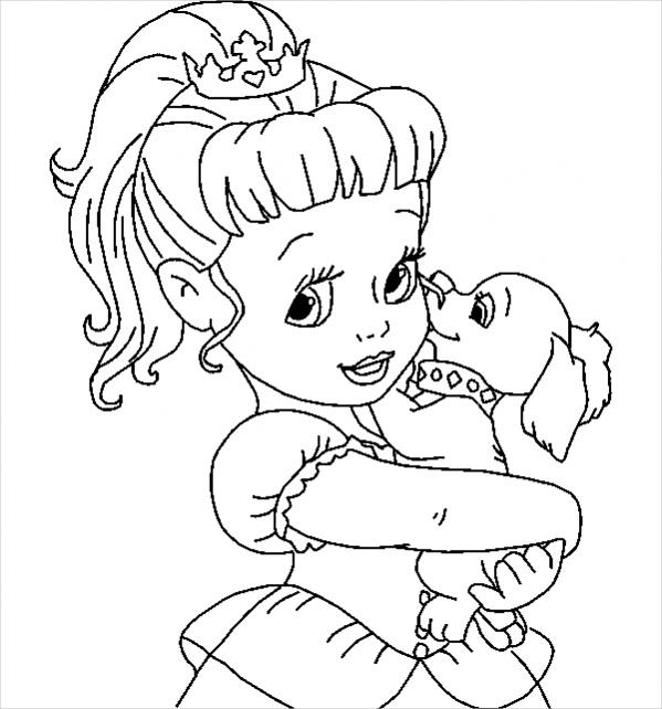 Free Disney baby princess Coloring Page