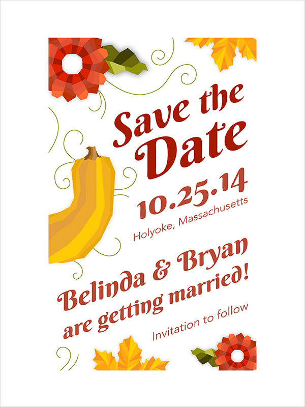 Free Fall Wedding Invitation