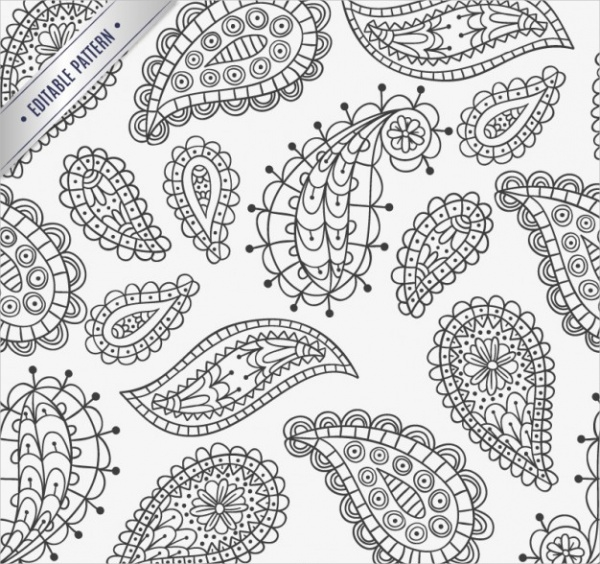 Free Hand Drawn Paisley Pattern