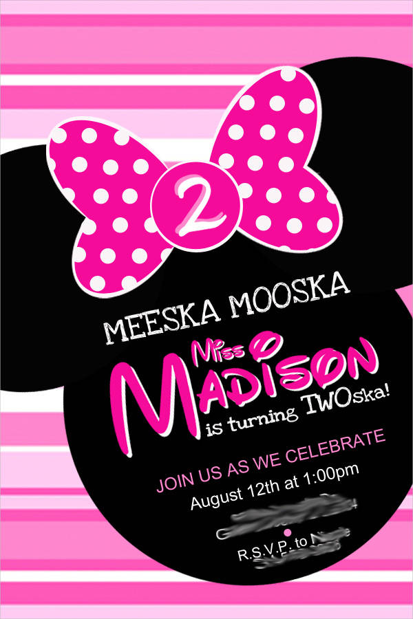 11+ minnie mouse birthday invitations - psd, vector eps, ai, Birthday invitations