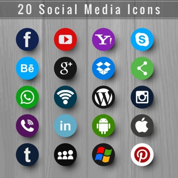 Free PSD Flat Social Icons