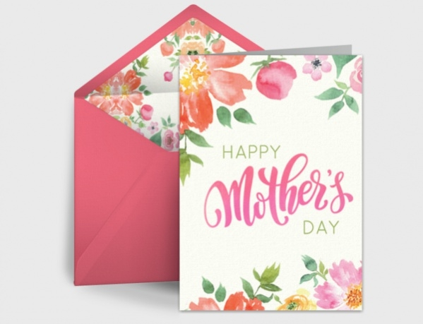 Free Watercolor Mothers Day Card