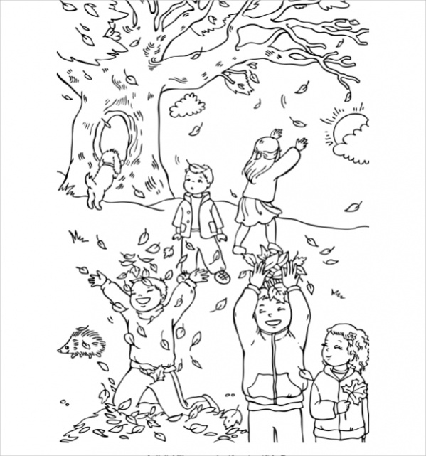 Fully Editable Fall Coloring Page