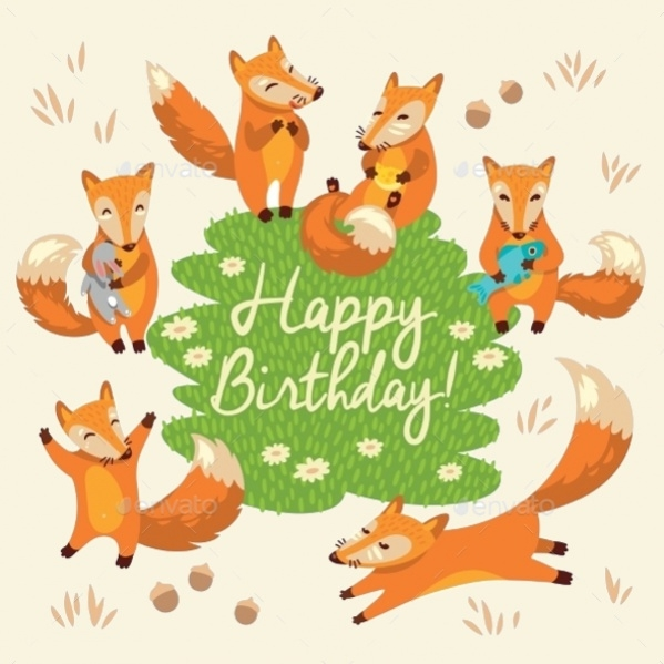 Funny Foxes Birthday Card