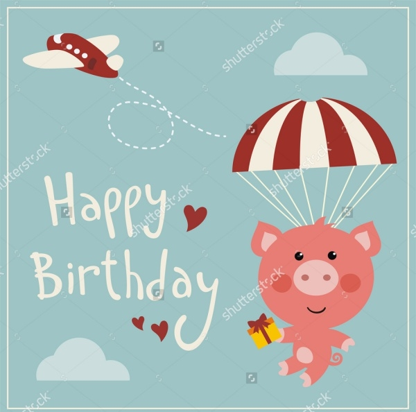 Funny Pig Flying Birthday Card