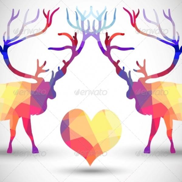 Geometric Shaped Deer Silhouette