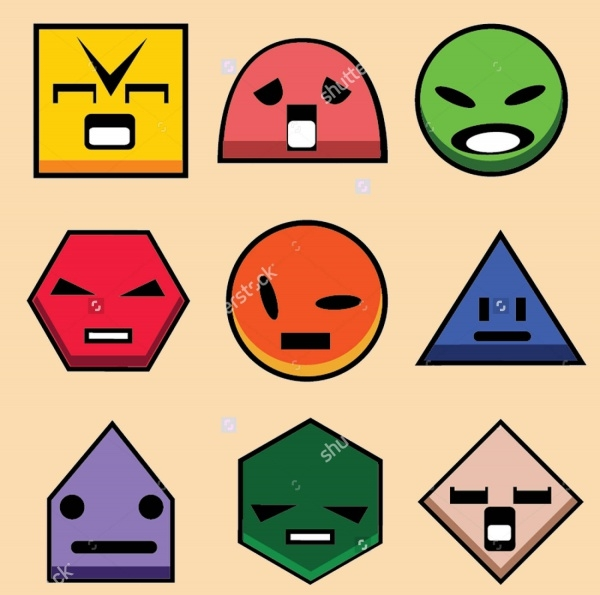 Geometry Shapes 2D With Faces