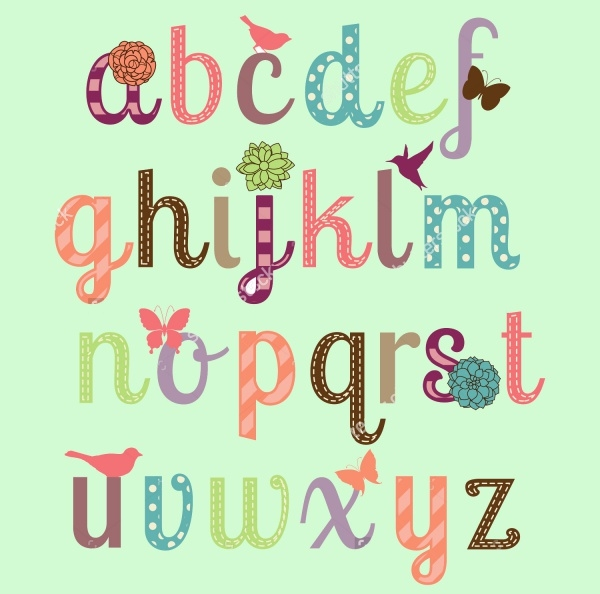 Girly Alphabet Letters for Desktop