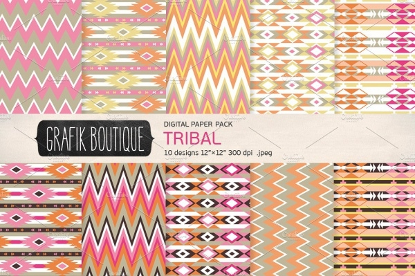 Girly Digital Paper Tribal Pattern