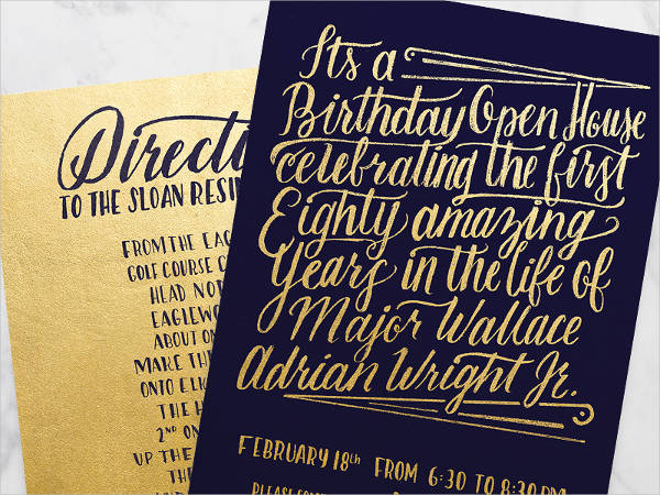 Gold Foil Hand lettering Birthday Invitation