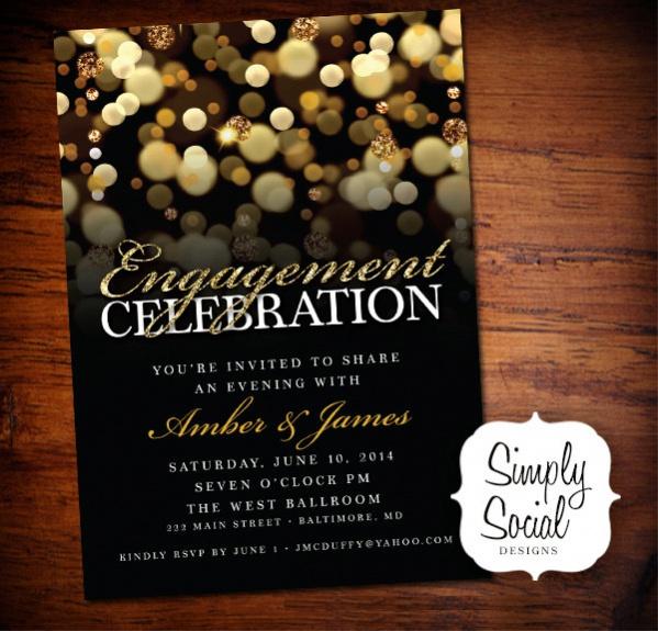 Gold Glitter Engagement Invitation