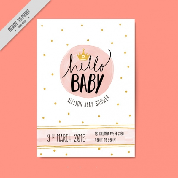 Golden Baby Shower Party Invitation