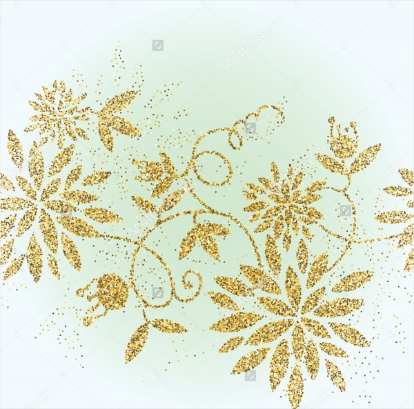 Golden Glitter Flower Background