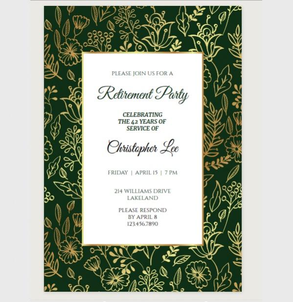 Golden Leaves Retirement Party Invite