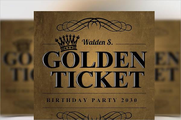 Golden Ticket Birthday Party Invitation