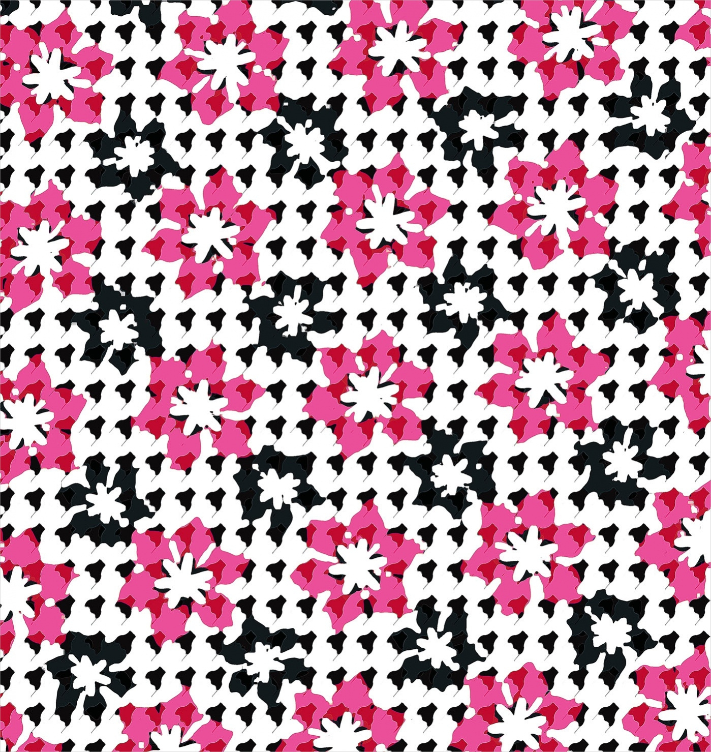 Graphic Floral Houndstooth Pattern