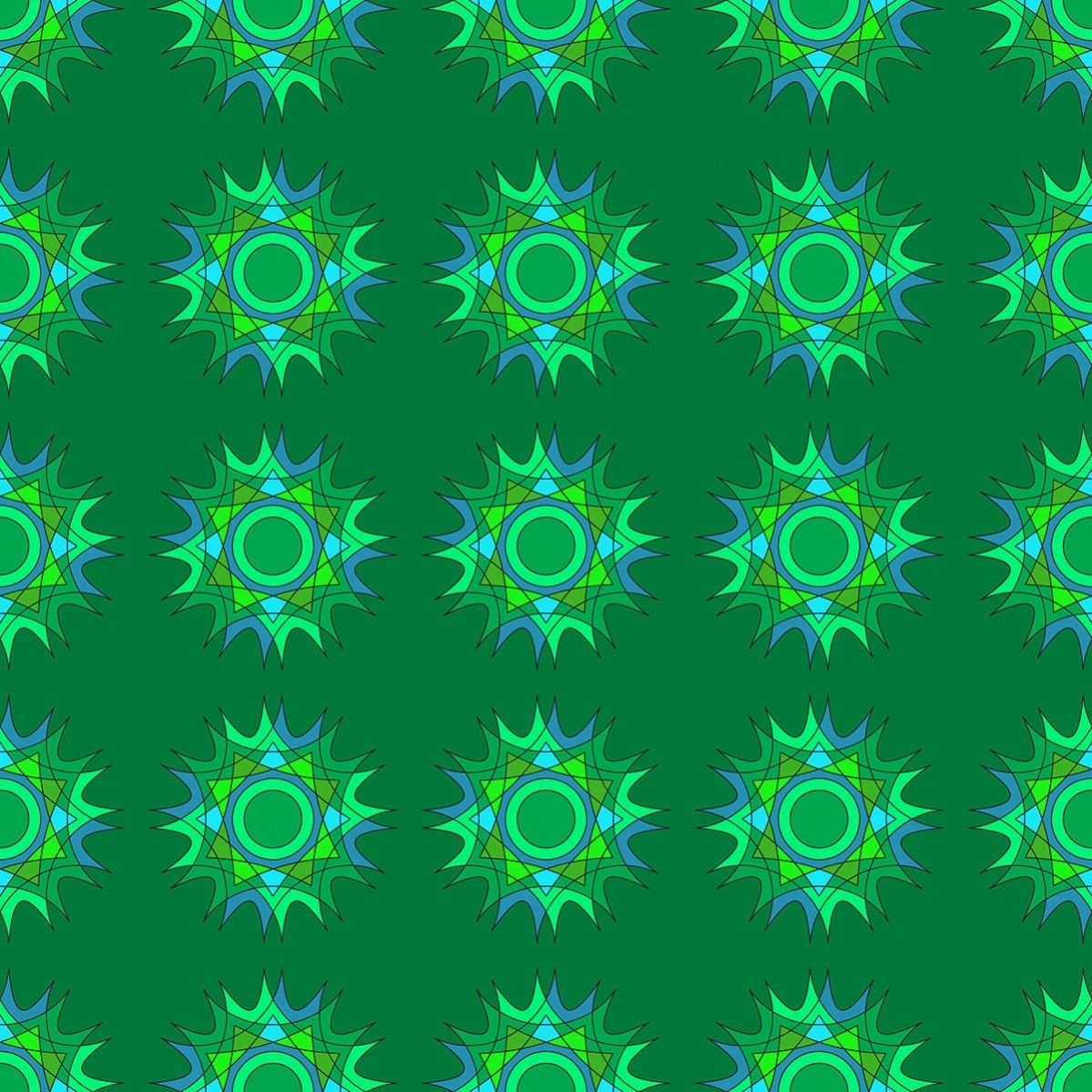 green pattern with stars