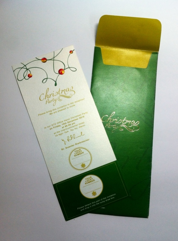 green colored christmas invitation