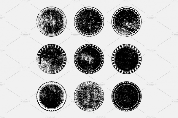 Grunge Stamped Round Shapes