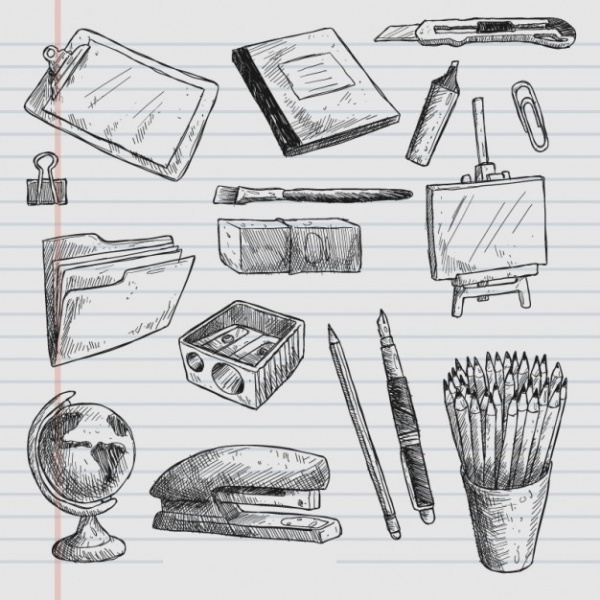 Hand Drawn School Elements