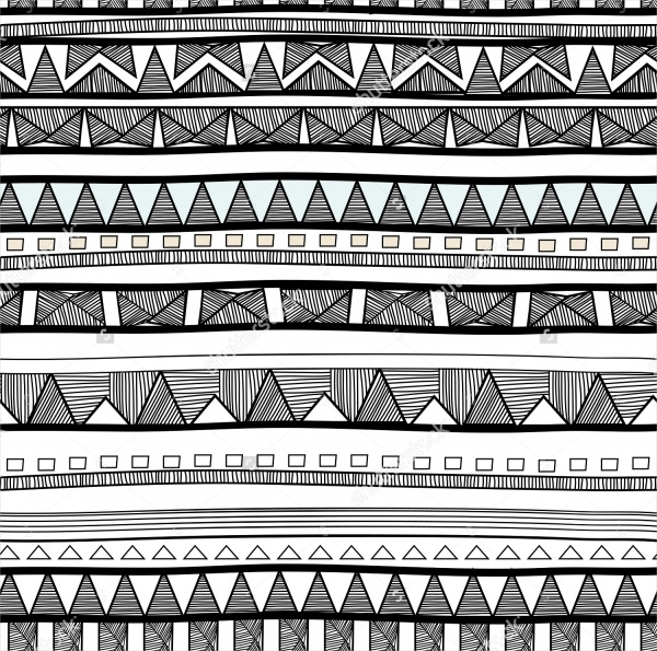 Hand Drawn Tribal Black and White Pattern