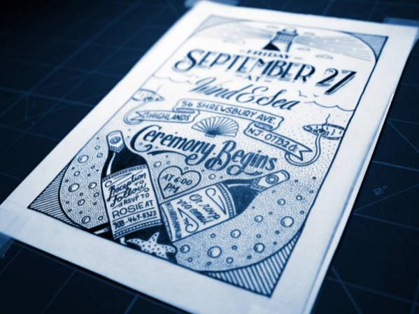 Hand Drawn Vintage Wedding Invitation