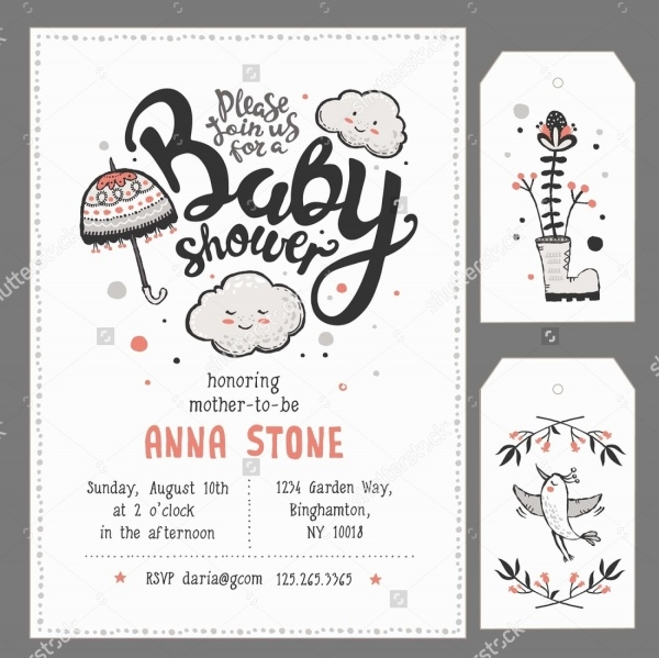 Hand Lettering Baby Shower Invitation