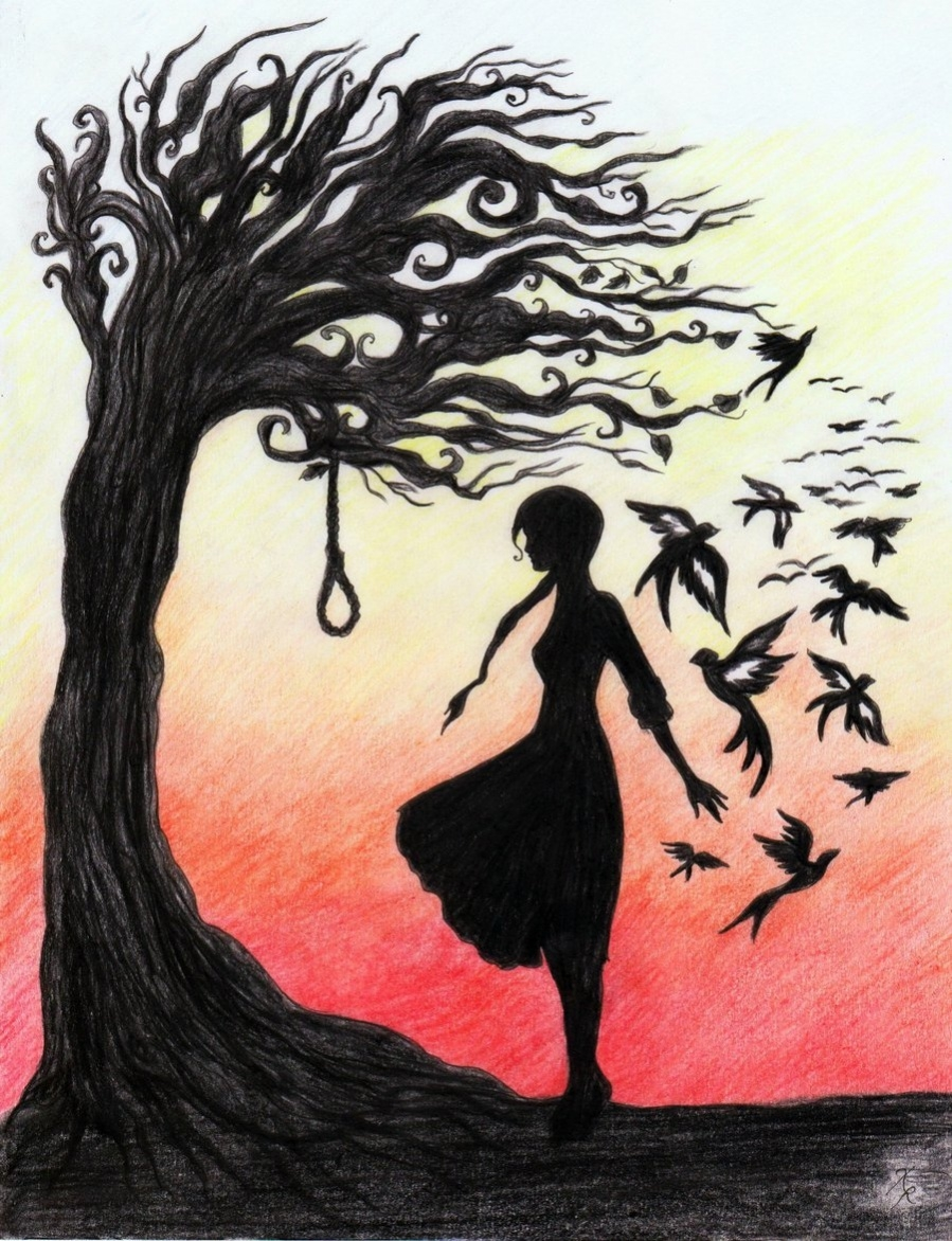 Hanging Tree Pencil Drawing