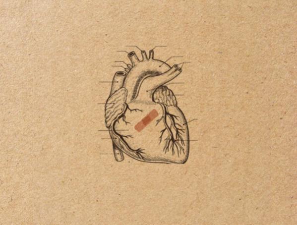 Heart Pencil Drawing on Cardboard